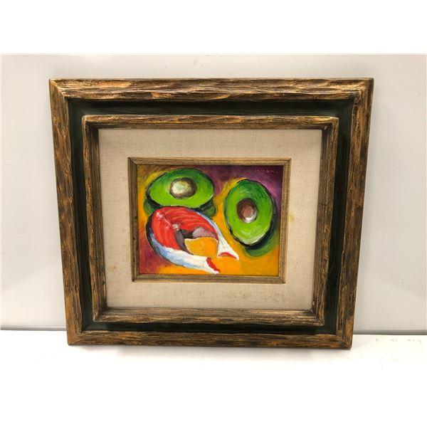 Frank Molnar oil on board framed still-life salmon steak & avocado painting 2012 - approx. 20in x 18
