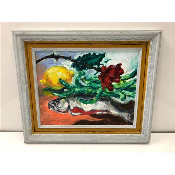 Frank Molnar oil on board framed still-life salmon & lemon painting 1993 - approx. 18in x 15in (58)
