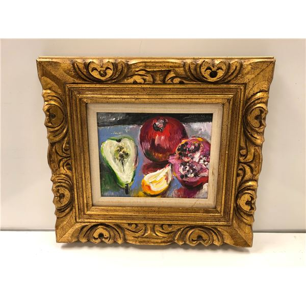 Frank Molnar oil on board framed still-life fruit painting 2015 - approx. 18in x 16in (37)