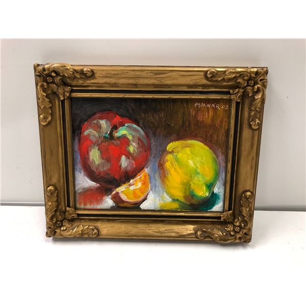 Frank Molnar oil on board framed still-life fruit painting 2002 - approx. 10 1/2in x 8 1/2in (59)