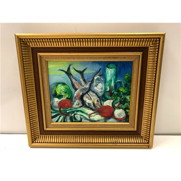 Frank Molnar oil on board framed still-life fish & vegetables painting 1999 - approx. 15in x 13in (6