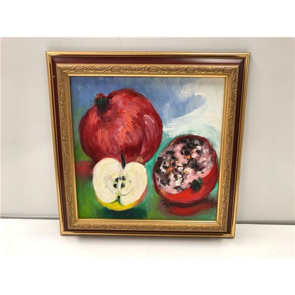 Frank Molnar oil on board framed still-life fruit painting 2006 - approx. 12in x 12in (41)