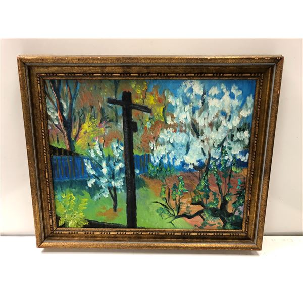 Frank Molnar oil on canvas framed impressionist style painting 1965 - (229)