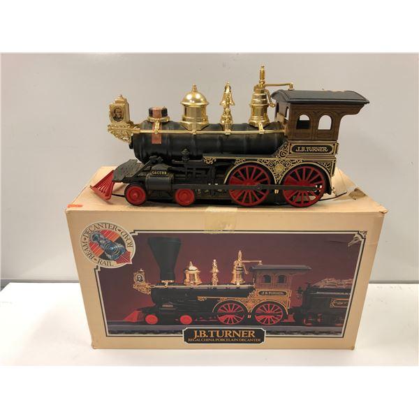 Jim Beam J.B. Turner Locomotive railroad porcelain liquor decanter (seal intact) - comes w/ original