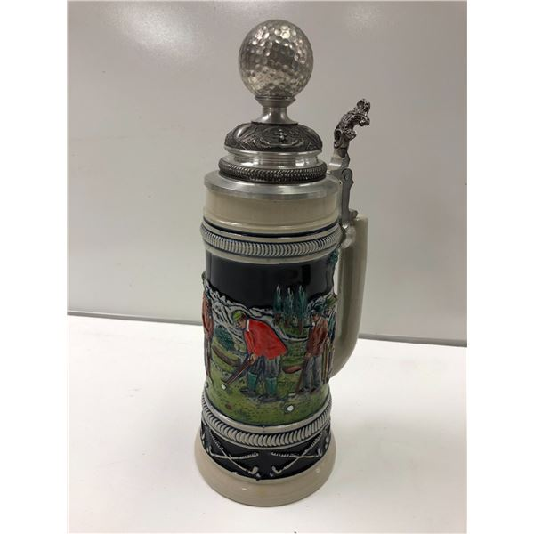 Genuine old German beer stein limited edition golf motif Made in Germany