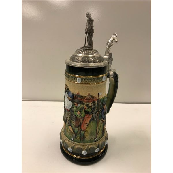 Handmade/ hand painted limited edition #683/1500 golf motif beer stein Made in Germany