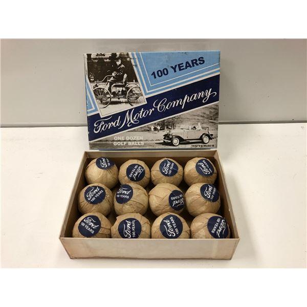 "Vintage box of 1 dozen ""Ford Motor Company 100 Years"" golf balls"