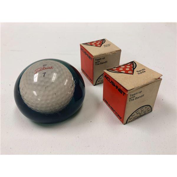 Vintage Titleist #7 paperweight & 2 vintage Titleist golf balls in original Bandit boxes