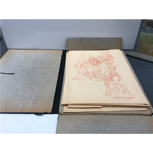 Frank Molnar black portfolio case w/ sketch pads - 7 sheets of drawings