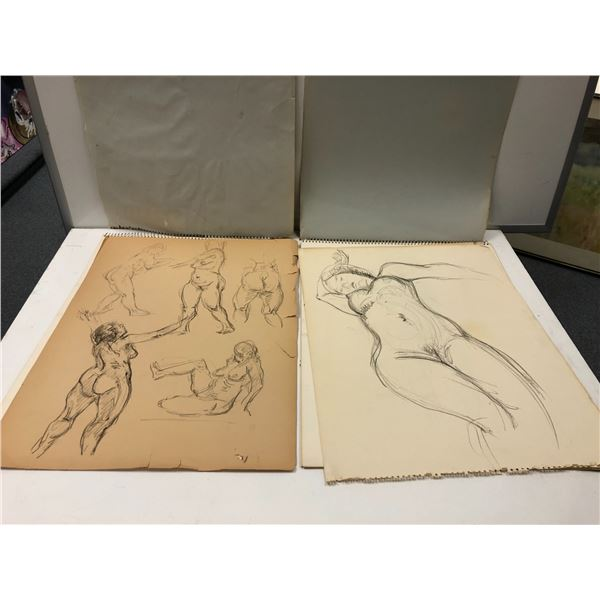 Two Frank Molnar sketchpads containing in total 9 nude drawings (4) & (7)