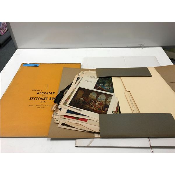 Frank Molnar sketchbook & 2 portfolio cases (contains no drawings) - magazine/ book art clippings on