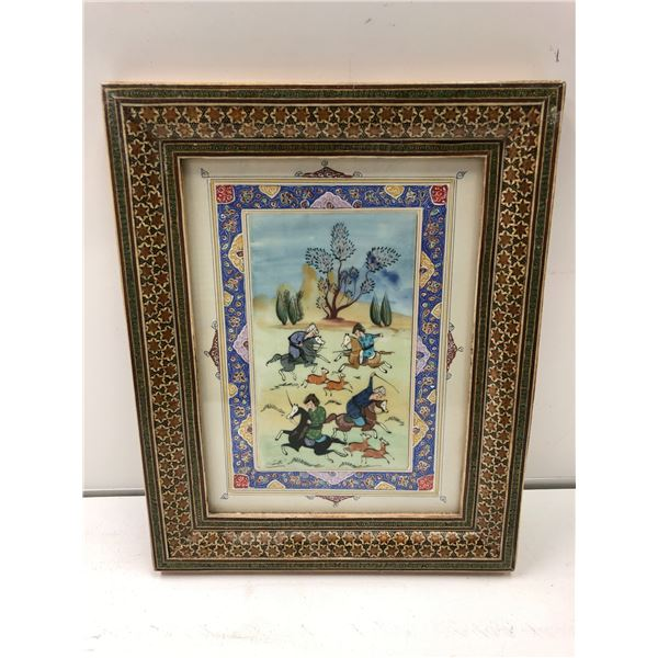 Antique Arabic/ Persian framed original painting signed by artist - approx. 10in x 12in