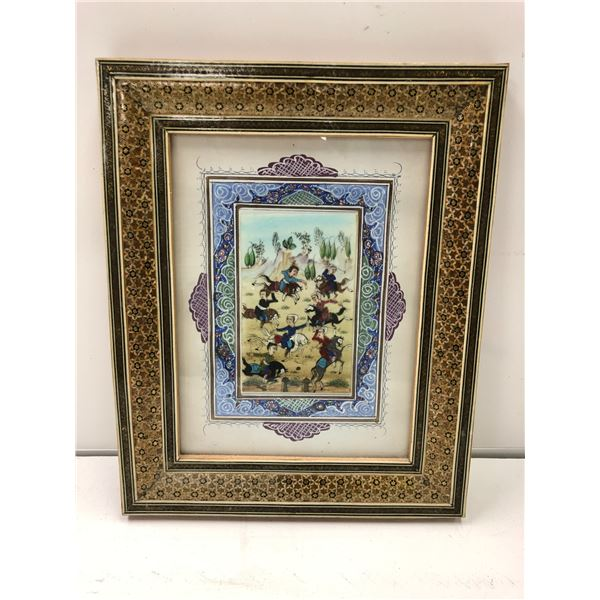 Antique Arabic/ Persian framed original painting - approx. 10in x 12in