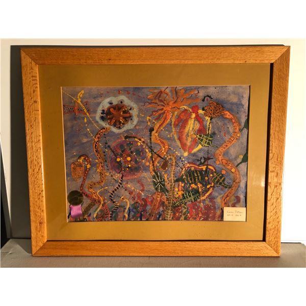 Framed watercolor abstract painting - Kevin Potter Grade 4 Division 4 1967 award ribbon present - fr