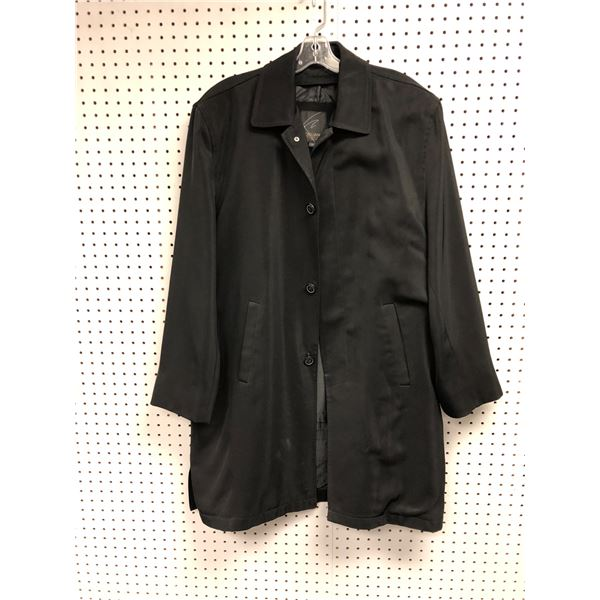Cigliano Italy men's black trench coat L