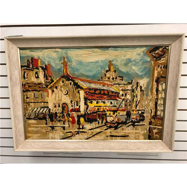 "Elmo Gideon framed original oil on canvas mid-century impressionist painting ""Street Scene"" - approx"