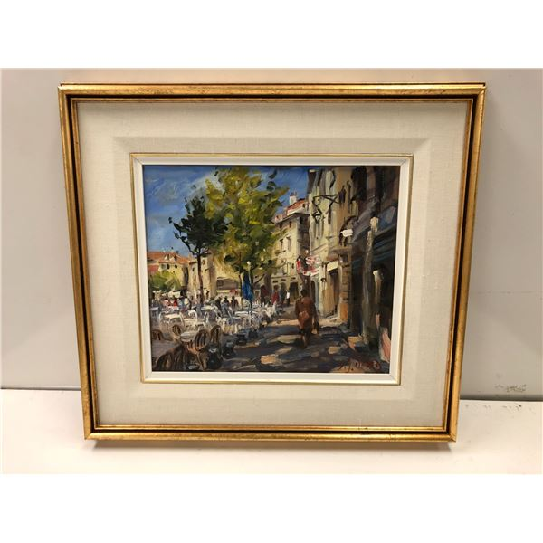 "Daniel Izzard framed original oil on board painting ""The Open Air Café, Arles"" - 12in x 14in"