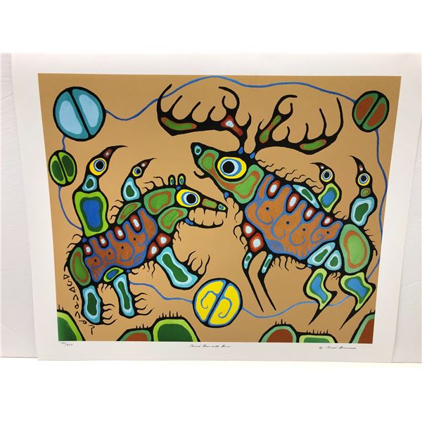 """Norval Morrisseau Canadian artist (1931-2007) - limited edition print """"Sacred Bear with Moose"""" #403/"""