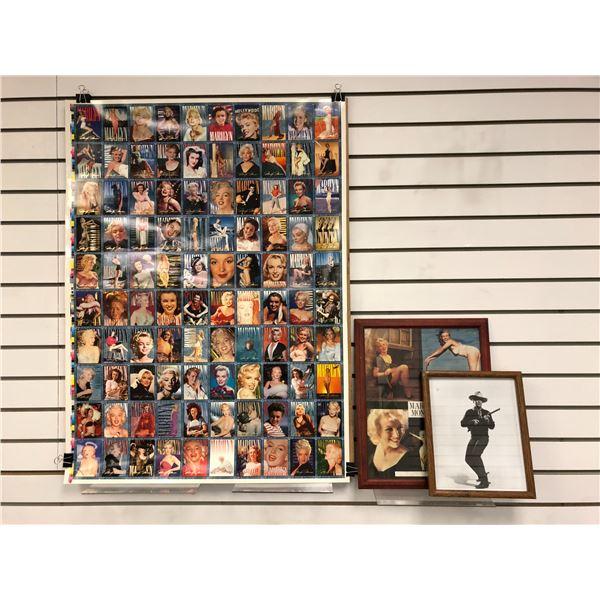 Marilyn Monroe 1993 uncut sheet of collector's cards/ framed Marilyn Monroe picture/ framed John Way