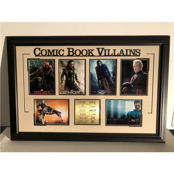 Comic Book Villains framed & signed collector's piece - 36in x 24in