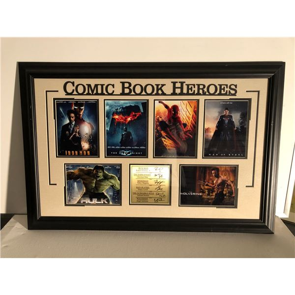 Comic Book Heroes framed & signed collector's piece - 36in x 24in