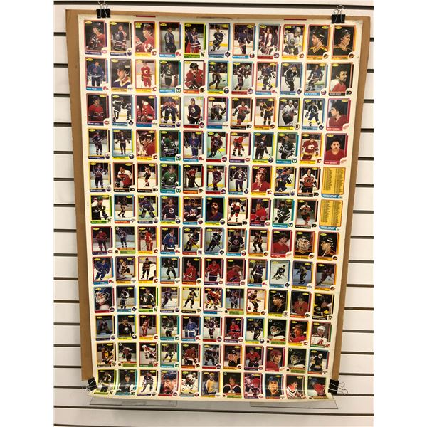 Uncut sheet 1986 O-Pee-Chee NHL Hockey collector's cards