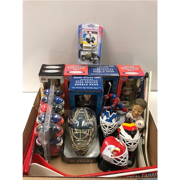 Box full of assorted NHL collectibles