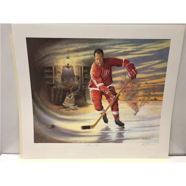 """""""Mr. Hockey"""" by James Lumbers limited edition Gordie Howe print - signed by Gordie Howe & artist #62"""