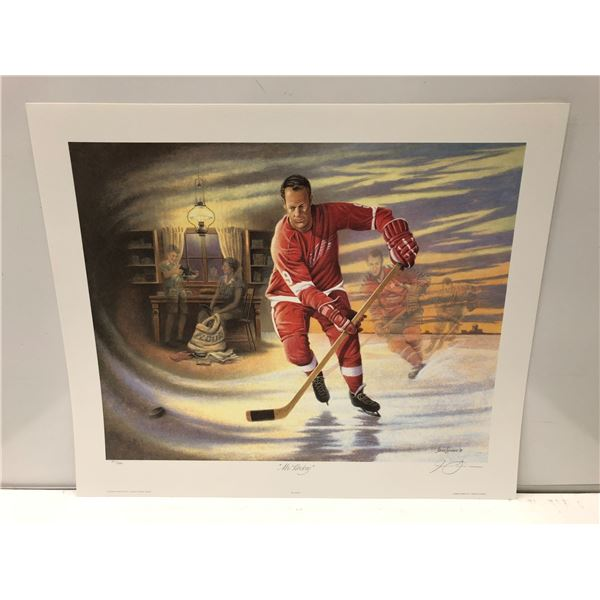 """""""Mr. Hockey"""" by James Lumbers limited edition Gordie Howe print - signed by artist - approx. 21 1/2i"""