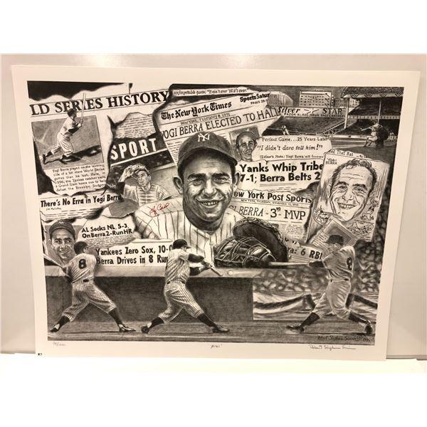 Yogi Berra Major League Baseball limited edition lithograph by Robert Stephen Simon #98/1200 - signe