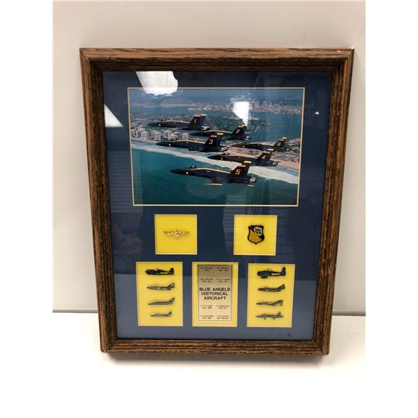 Framed Blue Angels Historical Aircraft collector's set display piece