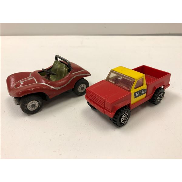 Two vintage Tonka toys - small dune buggy & pickup truck