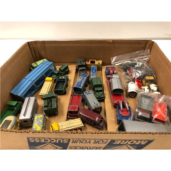 Box of 29 Lesney Made in England metal toy collector's trucks etc.