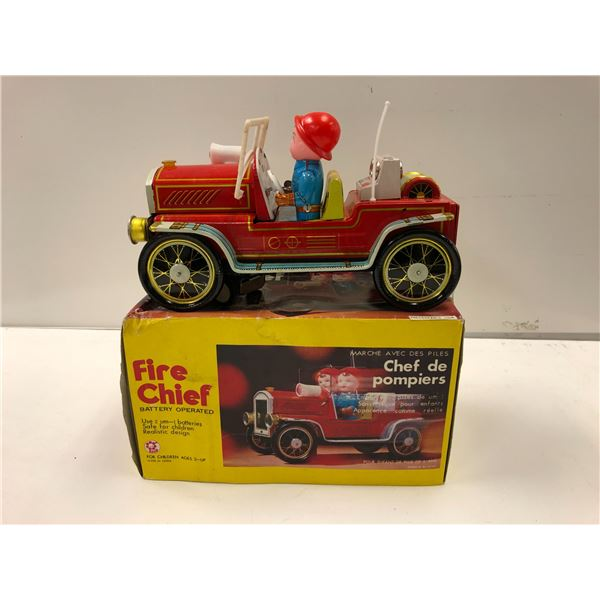 Vintage Fire Chief battery operated tin lithograph toy car w/ original box
