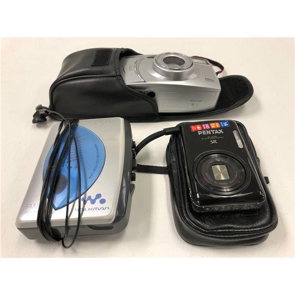 Sony walkman/ Pentax digital camera & polaroid 35mm film camera