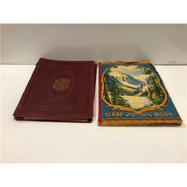 Two antique scrap books full of assorted nostalgic papers - postcards/ photographs/ letters/ tickets