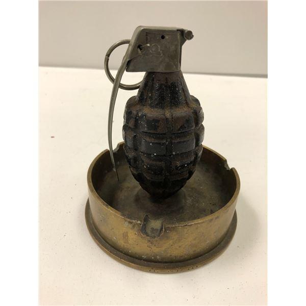 World War II trench art grenade w/ brass shell casing ashtray