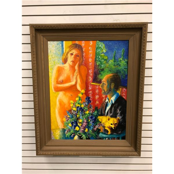 Frank Molnar Canadian (1936-2020) - Framed nude oil on canvas painting 1970 - woman/ flowers/ dog -