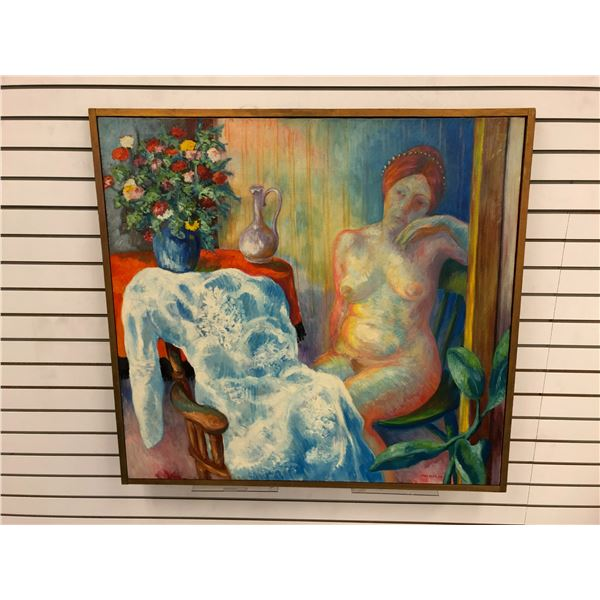 Frank Molnar Canadian (1936-2020) - Framed nude oil on canvas painting 1966 - sitting woman/ flower