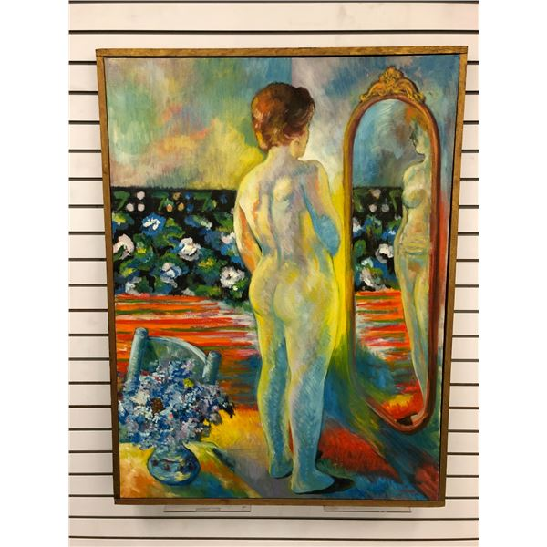 Frank Molnar Canadian (1936-2020) - Framed nude oil on canvas painting 1966 - woman in mirror - appr