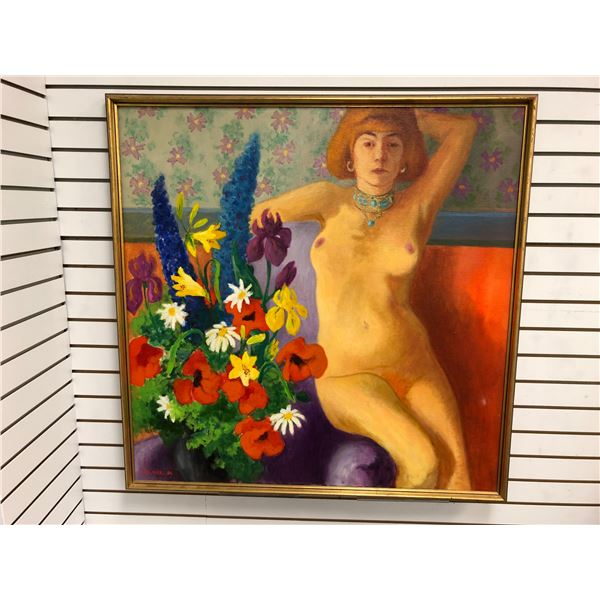 Frank Molnar Canadian (1936-2020) - Framed nude oil on canvas painting 1980 - sitting woman w/ flowe