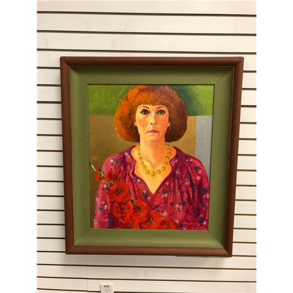 Frank Molnar Canadian (1936-2020) - Framed oil on board painting 1980 - woman w/ flowers - approx. 2