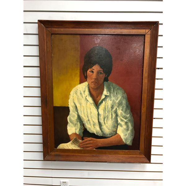 Frank Molnar Canadian (1936-2020) - Framed oil on board painting 1962 - woman in white blouse - appr