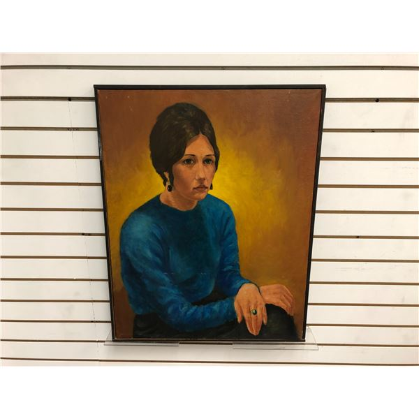 Frank Molnar Canadian (1936-2020) - Framed oil on canvas painting 1963 - woman in blue blouse - appr