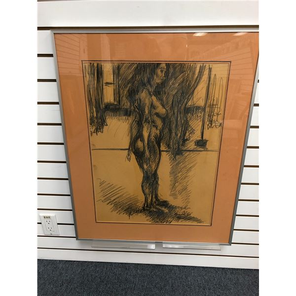 Frank Molnar Canadian (1936-2020) - Framed nude charcoal pencil sketch drawing 1999 - woman standing