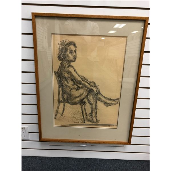Frank Molnar Canadian (1936-2020) - Framed nude charcoal pencil sketch drawing 2002 - sitting woman