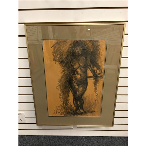 Frank Molnar Canadian (1936-2020) - Framed nude charcoal pencil sketch drawing 1999 - standing woman