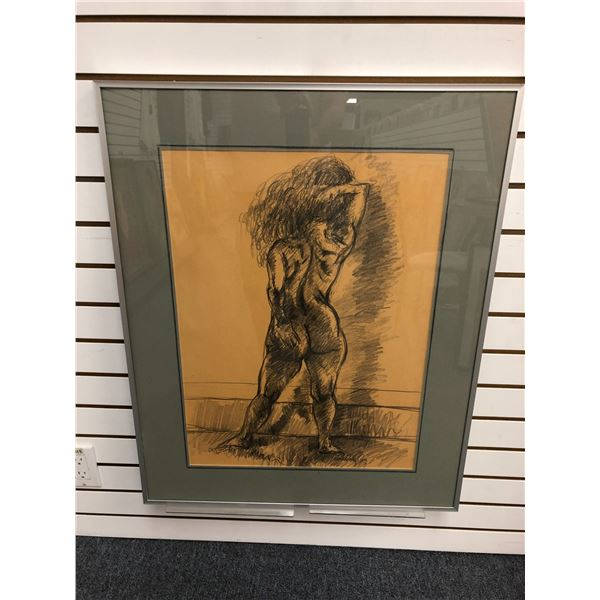 Frank Molnar Canadian (1936-2020) - Framed nude charcoal pencil sketch drawing 1999 - back facing st