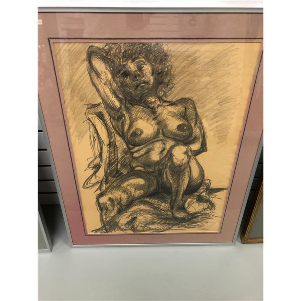 Frank Molnar Canadian (1936-2020) - Framed nude charcoal pencil sketch drawing 2002 - seated woman -