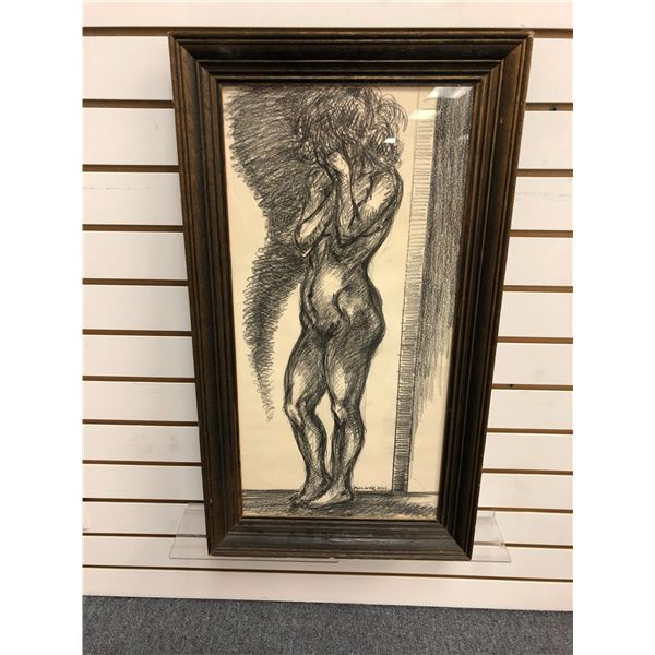 Frank Molnar Canadian (1936-2020) - Framed nude charcoal pencil sketch drawing 2001 - standing woman